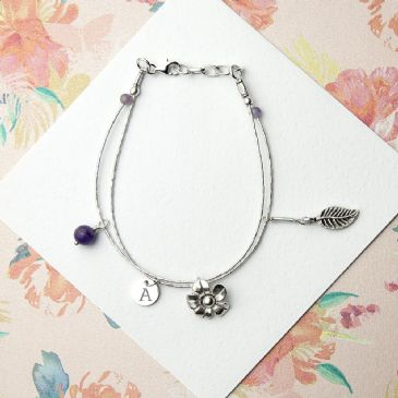 Personalised ForgetMeNot F/ship Bracelet Amethyst Stones